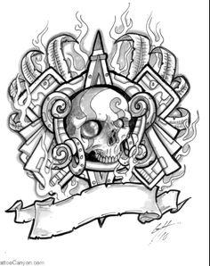 Aztec Skull Tattoo Design For Men