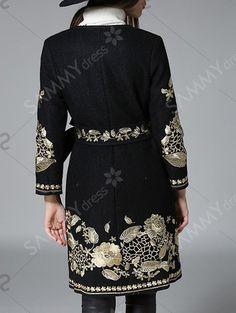 Belt Vintage Floral Embroidered Coat