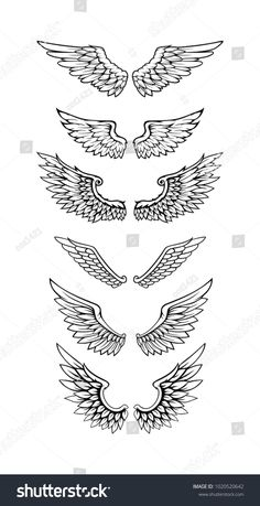 Illustration Of Wings Collection Set - - Discover thousands of Premium vectors available in AI and EPS formats. Dope Tattoos, Mini Tattoos, Forearm Tattoos, Body Art Tattoos, Sleeve Tattoos, Star Tattoos, Finger Tattoos, Wing Neck Tattoo, Neck Tattoo For Guys