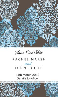 Damask Blue Save The Date Magnets