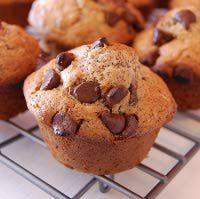 Chocolate Chip Muffins.  Altered this recipe to make them Gluten-Free.  Used 1 whole box of Betty Crocker's Gluten-Free All-Purpose Rice Flour Blends, 3 eggs, 2 tsps. vanilla, 2 tbs. baking powder, 1 3/4 cup of 1% milk, 5 tbs. Land O' Lakes Light Butter with Canola Oil in a tub, 1/2 bag of mini chocolate chips, and 3/4 cups sugar.  I did not add xanthium gum like you're supposed to do with gluten-free recipes, but they came out light, fluffy, and moist and not crumbly at all!