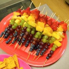 Rainbow fruit skewers will be served as a healthy snack, inspired by the fact that most of the food served will be sweet.