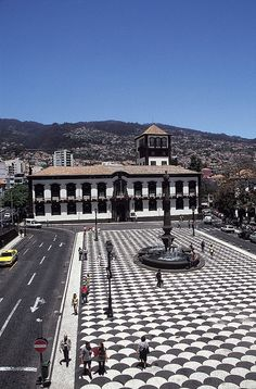 Municipal Square ~ Funchal, Madeira  The island has such distinctive and beautiful black and white tile floors, as evidenced here!
