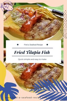 Fried Tilapia Fish makes a super tasty meal Fried Tilapia, Tilapia Fish Recipes, Seafood Recipes, My Recipes, Tasty, Yummy Food, Recipe Books, Fries, Meals