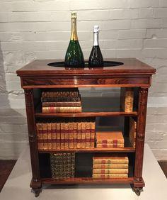 Antique Furniture Edwardian (1901-1910) Rare Antique Folding Adjustable Wooden Book Shelf With Carved Floral Decoration