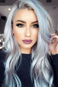 18 Stunning Silver Hair Looks to Rock ★ Terrific Long Silver Hair Looks Picture 3 Pelo Color Gris, Pelo Color Plata, Ombre Hair Color, Cool Hair Color, Purple Hair, Gray Ombre, Blue Grey Hair, Purple Lips, Grey Blonde