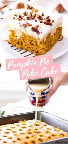 This easy Pumpkin Poke Cake Recipe begins with a doctored up cake mix (making this a doctored up pumpkin cake). It's an incredibly moist pumpkin cake . Pumpkin Sheet Cake, Easy Pumpkin Pie, Homemade Pumpkin Pie, Pumpkin Cake Recipes, Poke Cake Recipes, Poke Cakes, Homemade Cakes, Dessert Recipes, Easy Pie
