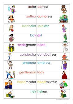 Image result for grammar gender worksheet