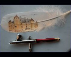 Airbrush Infinity and Createx  Feather 23x6 cm Image 9x5 cm Reference Photo from Photo Image Central Steve Petty