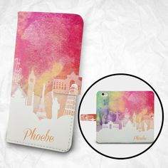 Customized *** Free Name Printing on Phone Case ***  Book wallet case for popular smartphones iPhone