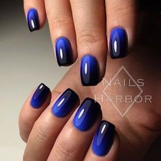 "If you're unfamiliar with nail trends and you hear the words ""coffin nails,"" what comes to mind? It's not nails with coffins drawn on them. It's long nails with a square tip, and the look has. Navy Nail Art, Navy Blue Nails, Blue Ombre Nails, Black And Blue Nails, Black Ombre, Ombre Nail Art, Blue Nails With Design, Navy Blue Nail Polish, Umbre Nails"
