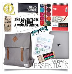 """""""Backpack Essentials"""" by elegal32 ❤ liked on Polyvore featuring interior, interiors, interior design, home, home decor, interior decorating, Forever 21, Herschel Supply Co., Corinne McCormack and Casetify"""