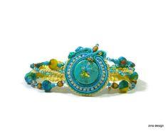 Boho Soutache Bracelet with Turquoise by ZinaDesignJewelry on Etsy, $49.00