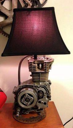 Lamp for Cylous Birthday (New Room Decor) Dirt bike motor lamp! Made from a 1989 Honda Dirt Bike. Car Part Furniture, Automotive Furniture, Automotive Decor, Office Furniture, Bedroom Furniture, Bedroom Decor, Bedroom Ideas, Furniture Design, Lampe Steampunk