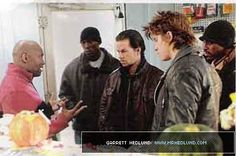 Garrett Hedlund, Mark Wahlberg, Tyrese Gibson, Andre 3000 - filming Four Brothers