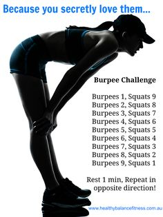 Week Burpee Challenge workout - I have a Love/Hate relationship with Burpees (jen). In order to earn any mileage this week your team MUST complete this workout 20 times! After you complete this.you will earn 3 miles per workout! Fitness Herausforderungen, Fitness Motivation, Sport Fitness, Health Fitness, Woman Fitness, Fitness Weightloss, Workout Fitness, Burpee Challenge, Workout Challenge