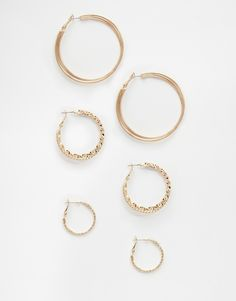 River Island Mixed Texture Hoop Multi Pack
