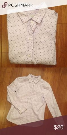 J. Crew button down Pale lavender with black polka dots. Single breast pocket. 100% cotton J. Crew Tops Button Down Shirts