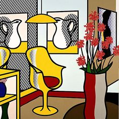 Roy Lichtenstein Pop Art, 1993 – Interior with Yellow Chair Roy Lichtenstein Pop Art, Jasper Johns, Andy Warhol, Contemporary Abstract Art, Modern Art, Cuadros Pop Art, Industrial Paintings, Culture Pop, Power Pop