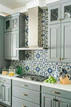 cottage kitchen design with cement tiles