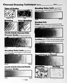 Charcoal Drawing Tips Charcoal Worksheet example - Charcoal Technique Worksheet page lesson plan with student worksheets is for grade and is a great introduction to any value or charcoal lesson. Charcoal Drawing Tutorial, Charcoal Sketch, Charcoal Drawings, Charcoal Portraits, Painting & Drawing, Drawing Eyes, Gesture Drawing, Value Drawing, Manga Drawing