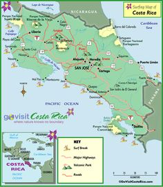 Costa Rica Surfing Map. Visited Arnal, La Fontuna & Liberia