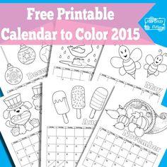*FREE* Printable Coloring Page 2015 Calendar