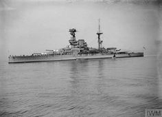 """Royal Navy Revenge-class Battleship HMS Ramillies (07) Launched in 1916 and armed with eight BL 15"""" Mk I naval guns in four twin turrets. She saw service in the Mediterranean, Indian Ocean, and in the North Atlantic as a convoy escort during WW2. She fired 1,005 15"""" shells during the invasion of Normandy, and then participated in the invasion of Southern France providing shore bombardment in the Toulon area. Scrapped in 1946. From the Imperial War Museum Archives"""