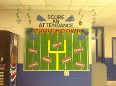 School attendance bulletin board for comparing attendance percentages by grade