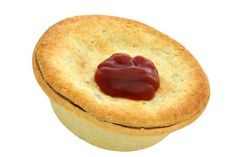 The ever-popular pies. . .along with tomato sauce. Mince, steak & cheese, etc #Kiwiana