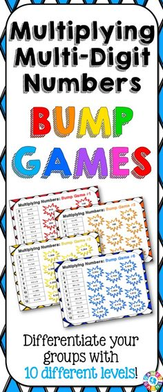 Multiplication Bump Games contains 10 different multiplication games to help students practice multiplying multi-digit whole numbers. As students work through these multiplication games, each one ramps up in difficulty. This means that you can have all of your students working at their appropriate level when using this set! https://www.teacherspayteachers.com/Product/Multiplication-1990519