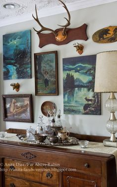 Gorgeous woodland gallery wall at Far Above Rubies! - use my paint by numbers and some of my vintage serving pieces, esp. in an unexpected place. Guest bedroom?