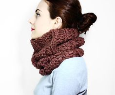 Earthy Brown Chunky Stripe Cowl - Crochet Pattern - PDF - immediate download - One Hour Crochet - One Hour Project