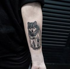 Wolf tattoo on forearm by Mikhail Anderson