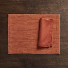 Grasscloth Orange Cloth Placemat   Crate and Barrel