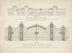 Wrought iron driveway gates and railing