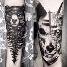 That tattoo on the right is amazing. drinks e tattoo com Future Tattoos, Tattoos For Guys, Cool Tattoos, Finger Tattoos, Hand Tattoos, Tattoo Studio, New Age Tattoo, Dog Skull, Sketch Style Tattoos