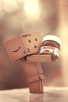 ImageFind images and videos about chocolate, nutella and danbo on We Heart It - the app to get lost in what you love. Danbo, Pirouette Cacahuete, Cardboard Robot, Box Robot, Amazon Box, Nutella Recipes, Cute Box, Thinking Outside The Box, Little Boxes
