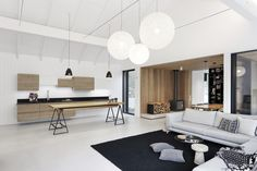 Image 15 of 32 from gallery of Family House Neveklov / ATELIER KUNC architects. Photograph by Jan Vrabec Scandinavian Pendant Lighting, Scandinavian Architecture, Journal Du Design, Modern Barn, House And Home Magazine, Interior Exterior, Architect Design, Bungalow, Home And Family