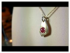 100% Pure Silver lady's pendant with pink Cabochon CZ. Hand crafted with love by me!