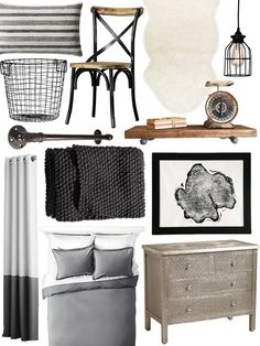 If your signature decor style is industrial, then you already know how stylish raw wood, metal and neutral hues look together. Worried that the style may feel too cold for a bedroom? Think again. A richly textured blanket, a faux fur rug and curtains will warm up the room. For just over $1,000, you can shop our entire roundup, then complete the look with a favorite salvaged find.
