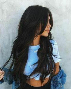 Stunning hairstyles for warm black hair ideas can find Long black hair and more on our website.Stunning hairstyles for warm black hair ideas Ombre Hair Color, Hair Color For Black Hair, Brown Hair Colors, Purple Hair, Wavy Black Hair, Black Hair Layers, Hair Colour, Layered Haircuts With Bangs, Haircuts For Long Hair