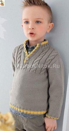 Джемпер с косами   Вязание для детей   Вязание спицами и крючком. Схемы вязания.