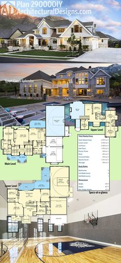 Architectural Designs Luxury House Plan 290000IY comes with a sport court in the lower walkout level.   6 beds, over 6,000 sq. ft. and incredible views out the back.    Ready when you are.