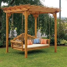 Cedar Pergola Swing Bed Stand on Picsity. I could use my existing swing and suspend it from the pergola! Cedar Pergola, Pergola Swing, Backyard Pergola, Backyard Ideas, Landscaping Ideas, Backyard Swings, Porch Swings, Patio Ideas, Backyard Storage