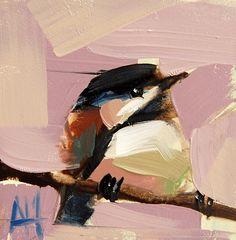 Chickadee no. 695 original bird oil painting by Angela Moulton