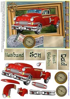 Red Retro Car Male Birthday or other 2 on Craftsuprint - Add To Basket! Pink Happy Birthday, Man Birthday, Masculine Birthday Cards, Birthday Cards For Men, Best Of Wishes, Car Themes, Decoupage Printables, 3d Cards, 3d Prints