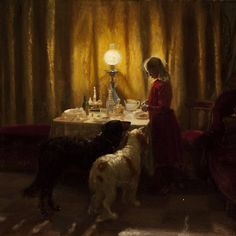 "catonhottinroof: ""Anna Ancher Feeding the dogs (detail), 1894 """