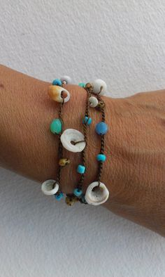 Puka Shell  Bracelet  Beach Jewelry Bohemian by WittnWhimsy1, $22.00
