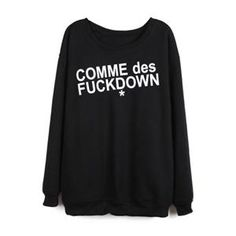 COMME des FUCKDOWN Print Black Loose Sweatshirt | pariscoming